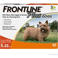 Frontline Plus Flea & Tick Treatment for Dogs, up to 22 lbs, 3 treatments