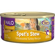 Halo Spot's Stew Wholesome Turkey Recipe Grain-Free Canned Cat Food, 5.5-oz, case of 12