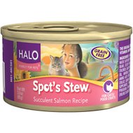 Halo Spot's Stew Succulent Salmon Recipe Grain-Free Canned Cat Food, 5.5-oz, case of 12