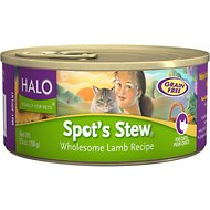 Halo Spot's Stew Wholesome Lamb Recipe Grain-Free Canned Cat Food, 5.5-oz, case of 12