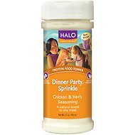 Halo Dinner Party Sprinkle Chicken & Herbs Enhancer Grain-Free Dog & Cat Food Supplement, 2.7-oz bottle