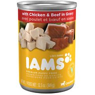 Iams Puppy Chunks with Chicken & Beef in Gravy Canned Dog Food, 12.3-oz, case of 12