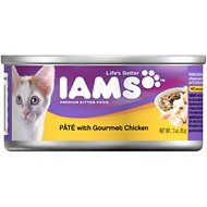Iams Kitten Premium Pate with Gourmet Chicken Canned Cat Food, 3-oz, case of 24