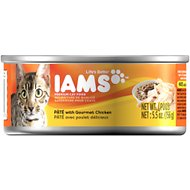 Iams Premium Pate with Gourmet Chicken Canned Cat Food, 5.5-oz, case of 12