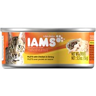 Iams Premium Filets with Chicken in Gravy Canned Cat Food, 5.5-oz, case of 12