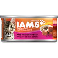 Iams Premium Pate with Tender Beef Canned Cat Food, 3-oz, case of 24