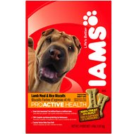 Iams ProActive Health Adult Lamb Meal & Rice Biscuits Dog Treats, 4-lb bag