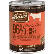 Merrick Grain-Free 96% Real Texas Beef Canned Dog Food, 13.2-oz, case of 12
