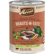 Merrick Classic Grain-Free Brauts-n-tots Recipe Canned Dog Food, 13.2-oz, case of 12