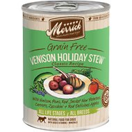 Merrick Classic Grain-Free Venison Holiday Stew Recipe Canned Dog Food, 13.2-oz, case of 12