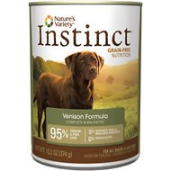 Nature's Variety Instinct Grain-Free Venison Formula Canned Dog Food, 13.2-oz, case of 12