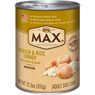 Nutro Max Senior Chicken & Rice Dinner Canned Dog Food, 12.5-oz, case of 12