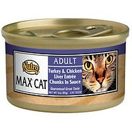 Nutro Max Adult Turkey & Chicken Liver Entree Chunks in Sauce Canned Cat Food, 3-oz, case of 24