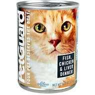 PetGuard Fish, Chicken & Liver Dinner Canned Cat Food, 13.2-oz, case of 12