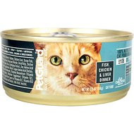 PetGuard Fish, Chicken & Liver Dinner Canned Cat Food, 5.5-oz, case of 24