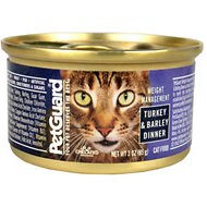 PetGuard Weight Management Turkey & Barley Dinner Canned Cat Food, 3-oz, case of 24