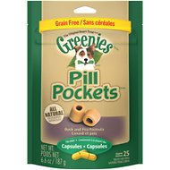 Greenies Pill Pockets Canine Roasted Duck & Pea Grain-Free Formula Dog Treats, 25 capsules