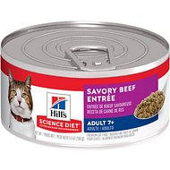 Hill's Science Diet Adult 7+ Savory Beef Entree Canned Cat Food, 5.5-oz, case of 24