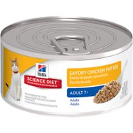 Hill's Science Diet Adult 7+  Savory Chicken Entree Canned Cat Food, 5.5-oz, case of 24