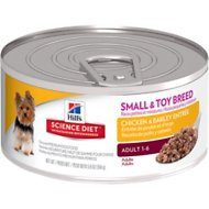 Hill's Science Diet Small & Toy Breed Adult Chicken & Barley Entree Canned Dog Food, 5.8-oz, case of 24