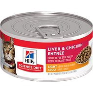 Hill's Science Diet Adult Light Liver & Chicken Entree Canned Cat Food, 5.5-oz, case of 24