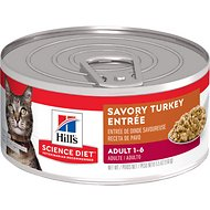 Hill's Science Diet Adult Savory Turkey Entree Canned Cat Food, 5.5-oz, case of 24