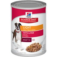 Hill's Science Diet Adult Light with Liver Canned Dog Food, 13-oz, case of 12