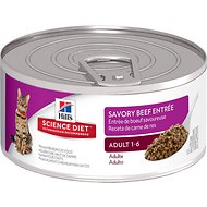 Hill's Science Diet Adult Savory Beef Entree Canned Cat Food, 5.5-oz, case of 24