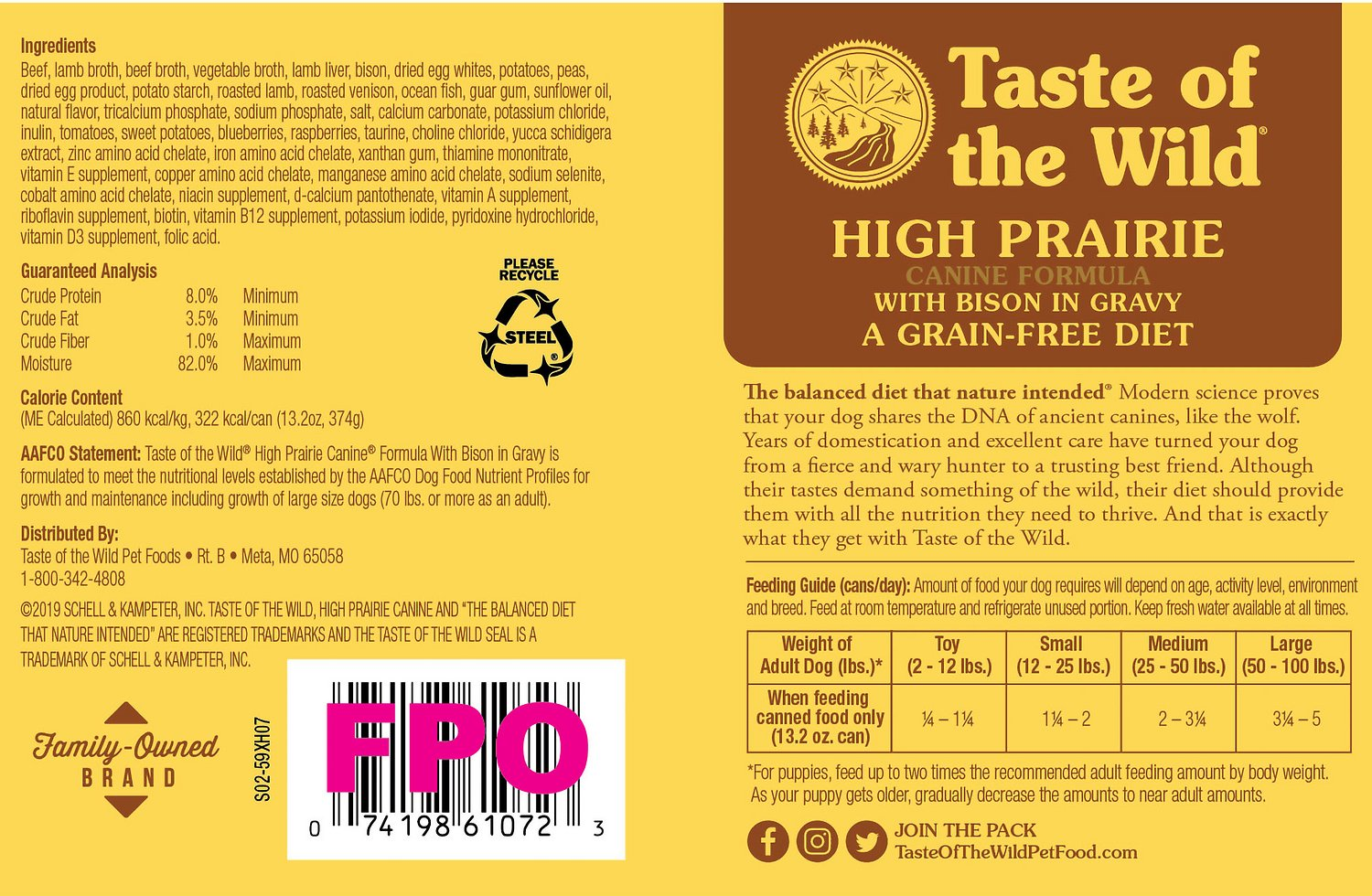 Taste of the wild high prairie grain free canned dog food 13 2 oz