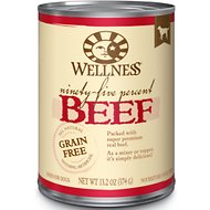 Wellness Ninety-Five Percent Beef Grain-Free Canned Dog Food, 13.2-oz, case of 12