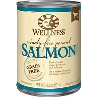 Wellness 95% Salmon Grain-Free Canned Dog Food, 13.2-oz, case of 12