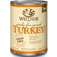 Wellness 95% Turkey Grain-Free Canned Dog Food, 13.2-oz, case of 12