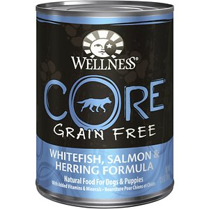 Wellness CORE Grain-Free Whitefish, Salmon & Herring Formula Canned Dog Food, 12.5-oz, case of 12; Salmon, whitefish and herring. Tasty, tasty, tasty. This Wellness CORE formula is packed with a high concentration of quality animal protein without fillers or grains, along with a proprietary blend of botanicals and nutritional supplements. It is a unique recipe that supports and nurtures your pet\\\'s inside...their essence...their CORE.
