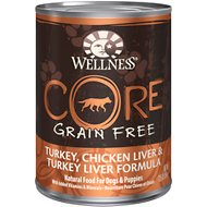 Wellness CORE Grain-Free Turkey, Chicken Liver & Turkey Liver Formula Canned Dog Food, 12.5-oz, case of 12