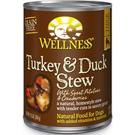 Wellness Turkey & Duck Stew with Sweet Potatoes & Cranberries Canned Dog Food, 12.5-oz, case of 12