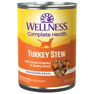 Wellness Turkey Stew with Barley & Carrots Canned Dog Food, 12.5-oz, case of 12
