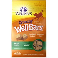 Wellness Crunchy WellBars Grain-Free Lamb & Apples Baked Dog Treats, 20-oz