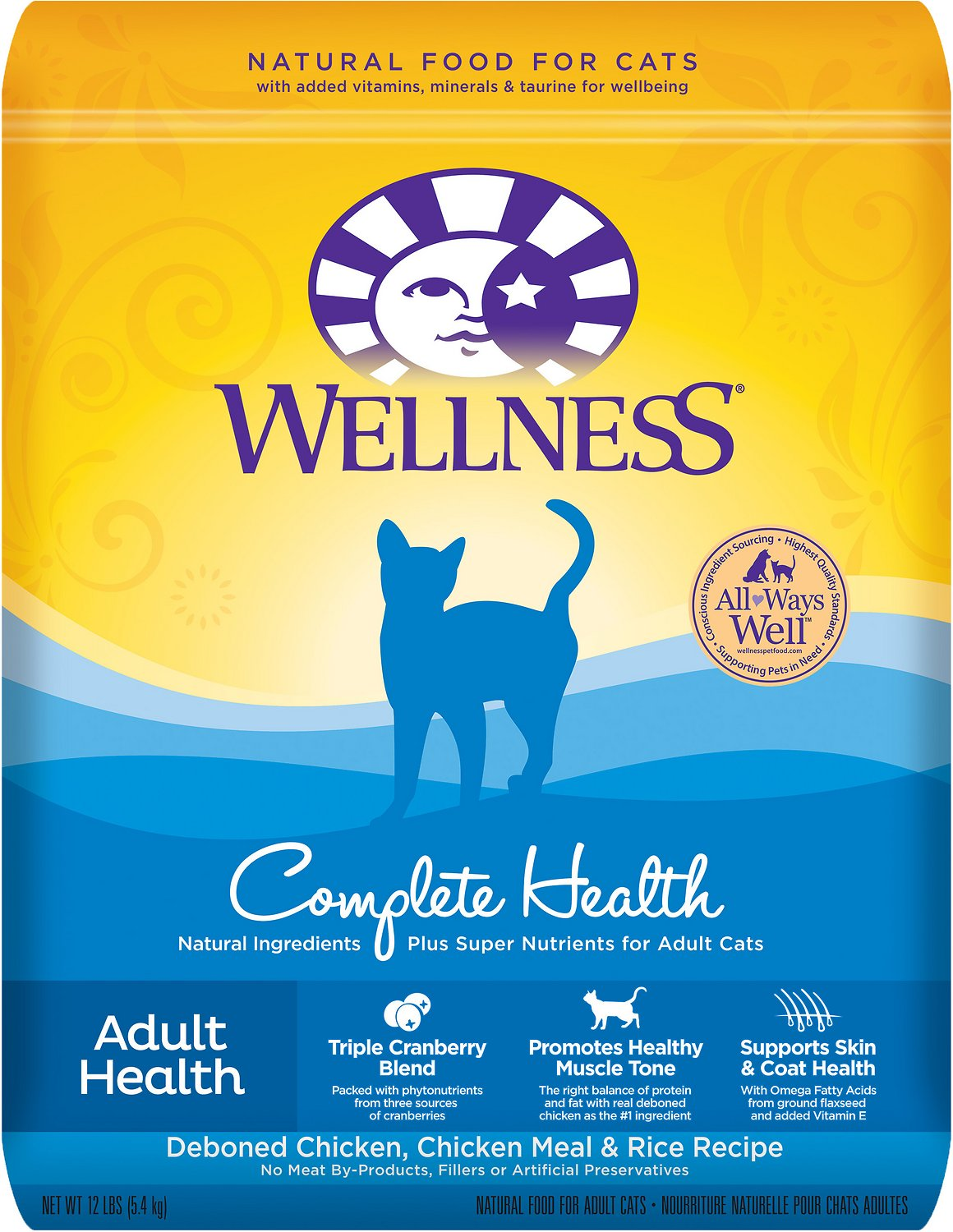 Wellness complete health adult health deboned chicken chicken wellness complete health adult health deboned chicken chicken meal rice recipe dry cat food 12 lb bag chewy forumfinder Choice Image