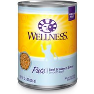 Wellness Complete Health Beef & Salmon Formula Canned Cat Food, 12.5-oz, case of 12