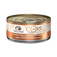 Wellness CORE Grain-Free Chicken, Turkey & Chicken Liver Formula Canned Kitten & Cat Food, 5.5-oz, case of 24