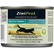 ZiwiPeak Daily-Cat Cuisine Venison & Fish Canned Cat Food, 6-oz, case of 12