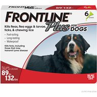 FRONTLINE Plus Flea & Tick Treatment for Dogs, 89-132 lbs, 6 treatments