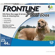 FRONTLINE Plus Flea & Tick Treatment for Dogs, 23-44 lbs, 6 treatments