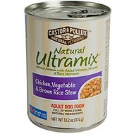 Castor & Pollux Natural Ultramix Chicken, Vegetable & Brown Rice Stew Adult Canned Dog Food, 13-oz, case of 12