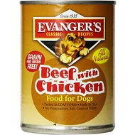 Evanger's Classic Recipes Beef with Chicken Canned Dog Food, 12.8-oz, case of 12