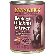 Evanger's Classic Recipes Beef with Chicken & Liver Grain-Free Canned Dog Food, 12.8-oz, case of 12