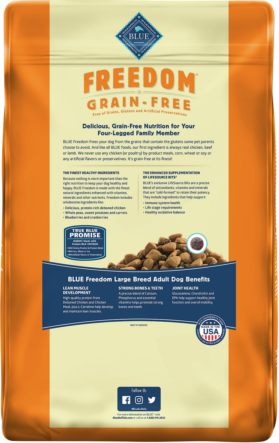 blue buffalo freedom large breed adult chicken recipe grain free dry dog food - Free Adult P