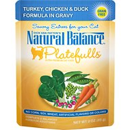 Natural Balance Platefulls Turkey, Chicken & Duck Formula in Gravy Grain-Free Cat Food Pouches, 3-oz pouch, case of 24