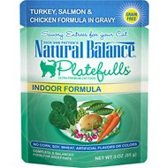 Natural Balance Platefulls Indoor Formula Turkey, Salmon & Chicken in Gravy Grain-Free Cat Food Pouches, 3-oz pouch, case of 24