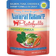 Natural Balance Platefulls Indoor Formula Salmon, Tuna, Chicken & Shrimp in Gravy Grain-Free Cat Food Pouches, 3-oz pouch, case of 24